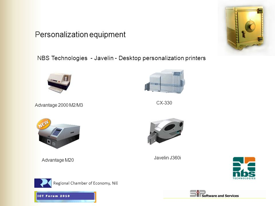 Personalization equipment NBS Technologies - Javelin - Desktop personalization printers Advantage 2000 M2/M3 Advantage M20 CX-330 Javelin J360i Region