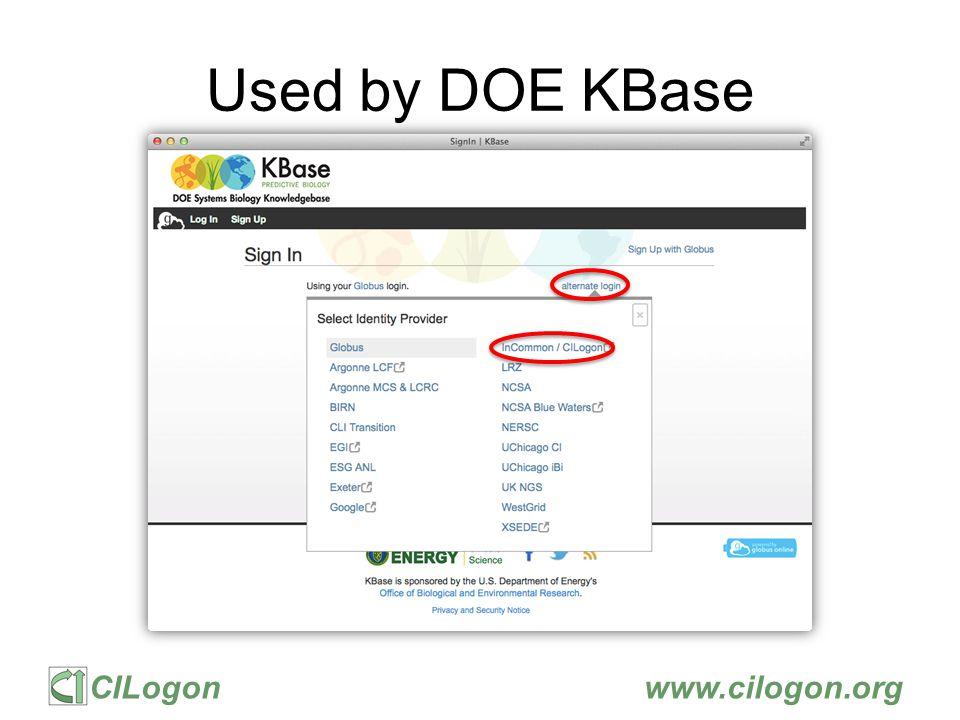CILogonwww.cilogon.org Used by DOE KBase