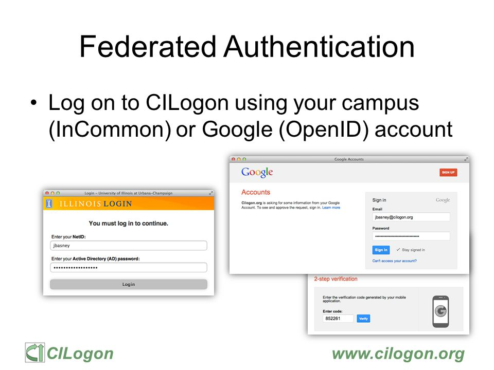 CILogonwww.cilogon.org CILogon and XSEDE CILogon is –a component in the XSEDE architecture –following the XSEDE engineering process: architecture, design, and security reviews and operational acceptance tests XSEDE provides sustained operational support to CILogon users (ATLAS, DataONE, OOI, OSG, KBASE, LIGO, etc.) Including backup CILogon instance at NICS CILogon
