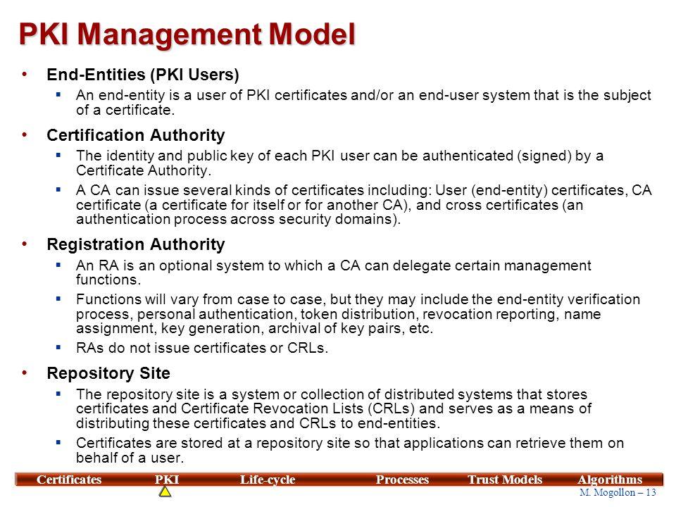 13 M. Mogollon – 13 CertificatesPKILife-cycleProcessesTrust ModelsAlgorithms PKI Management Model End-Entities (PKI Users)  An end-entity is a user o