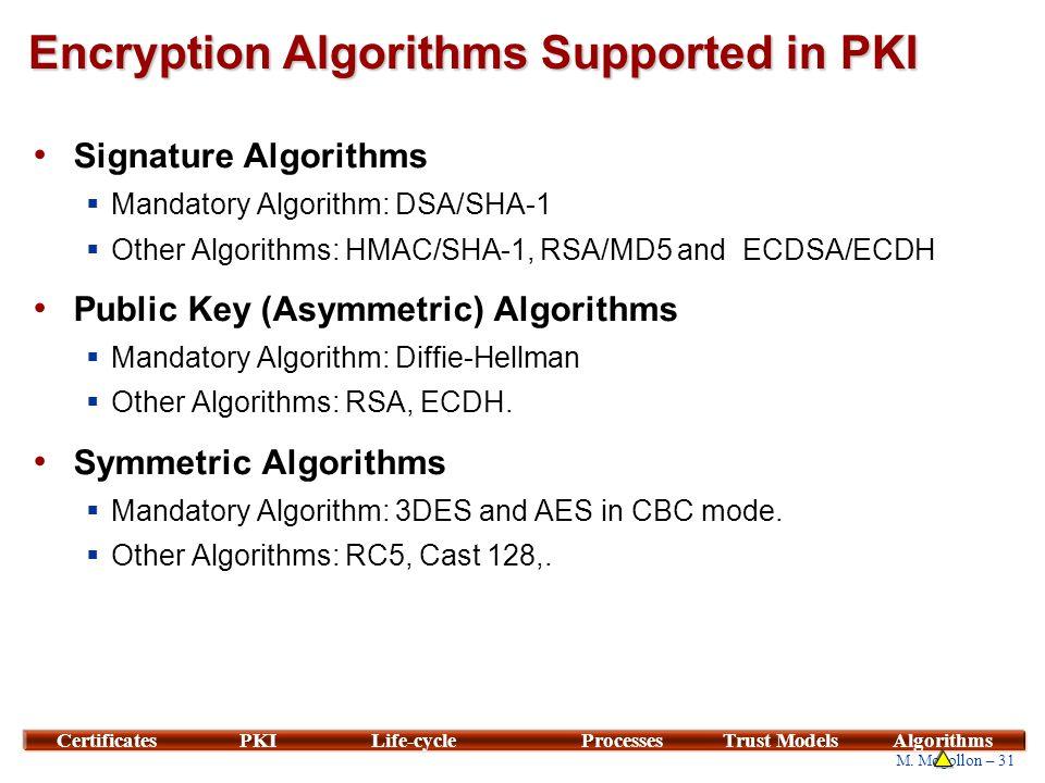 31 M. Mogollon – 31 CertificatesPKILife-cycleProcessesTrust ModelsAlgorithms Encryption Algorithms Supported in PKI Signature Algorithms  Mandatory A
