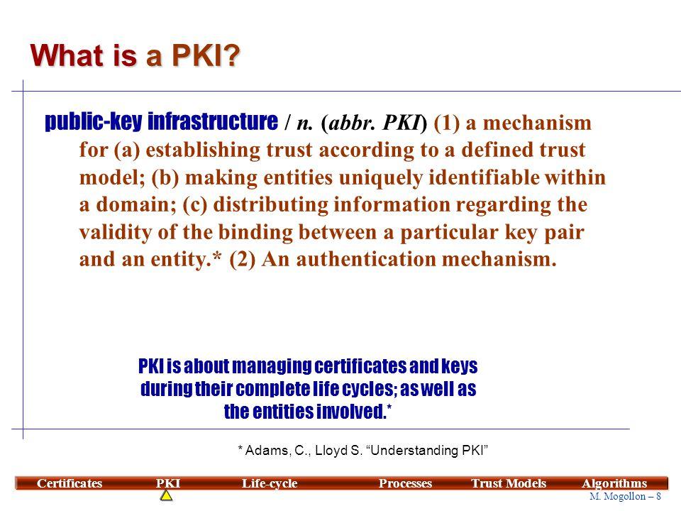 8 M. Mogollon – 8 CertificatesPKILife-cycleProcessesTrust ModelsAlgorithms What is a PKI? public-key infrastructure / n. (abbr. PKI) (1) a mechanism f