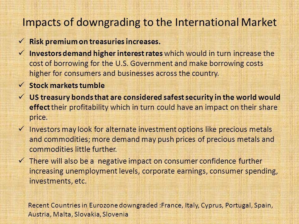 Impacts of downgrading to the International Market Risk premium on treasuries increases.