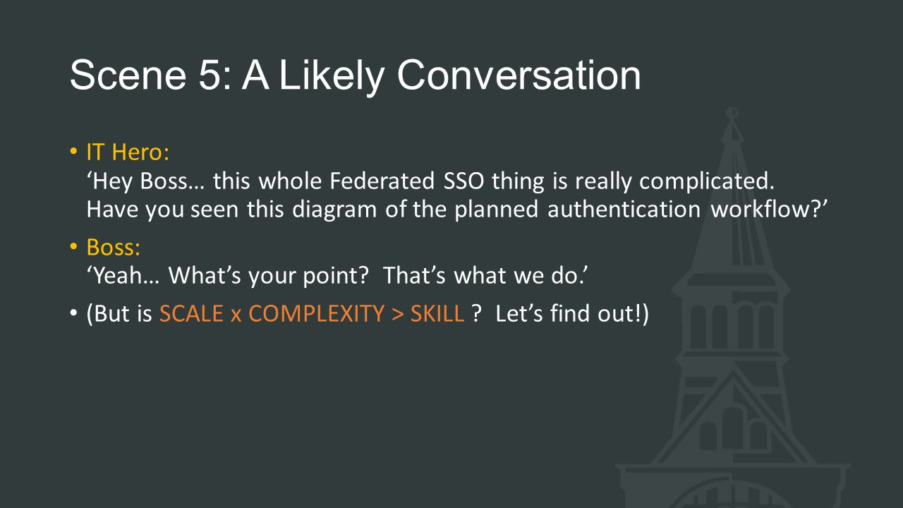 Scene 5: A Likely Conversation IT Hero: 'Hey Boss… this whole Federated SSO thing is really complicated.