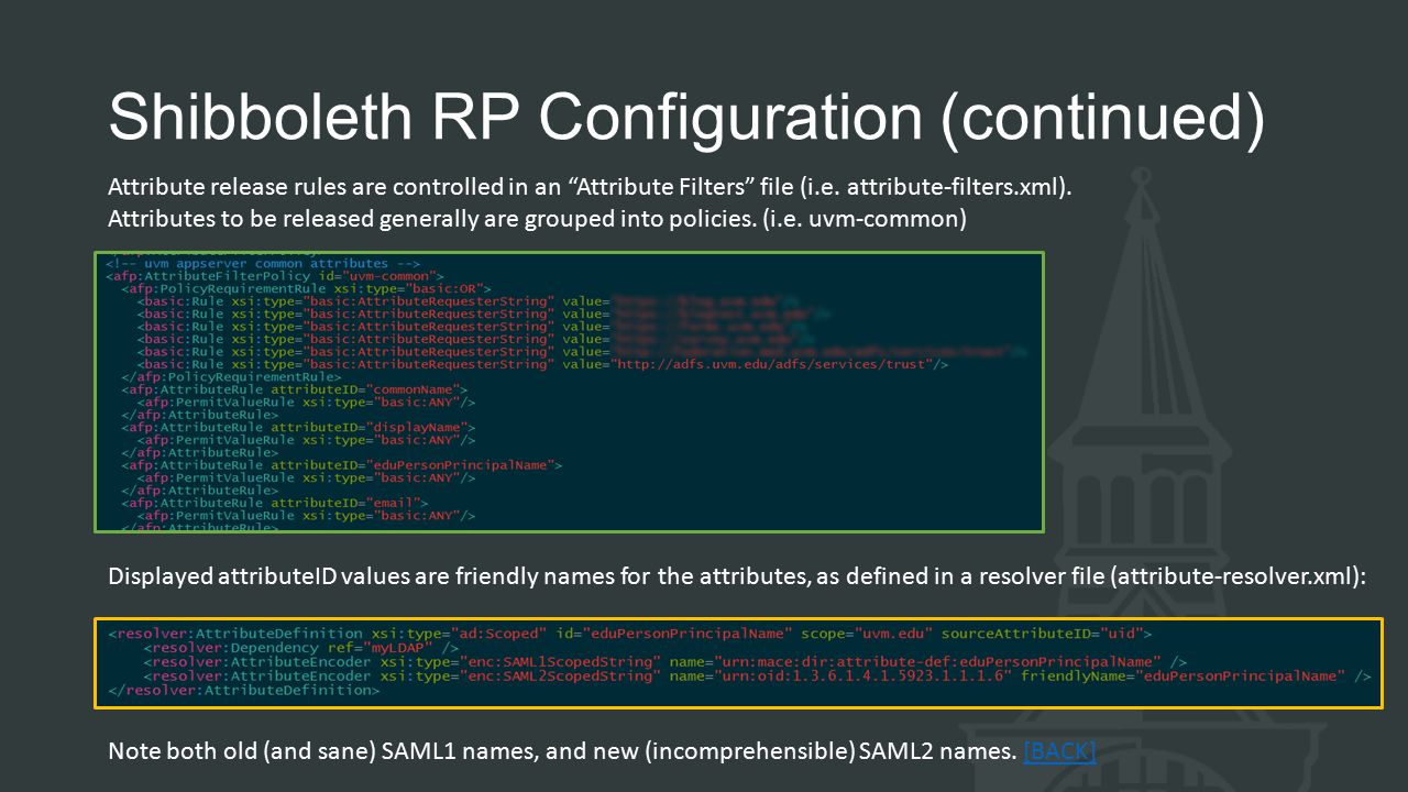 Shibboleth RP Configuration (continued) Attribute release rules are controlled in an Attribute Filters file (i.e.