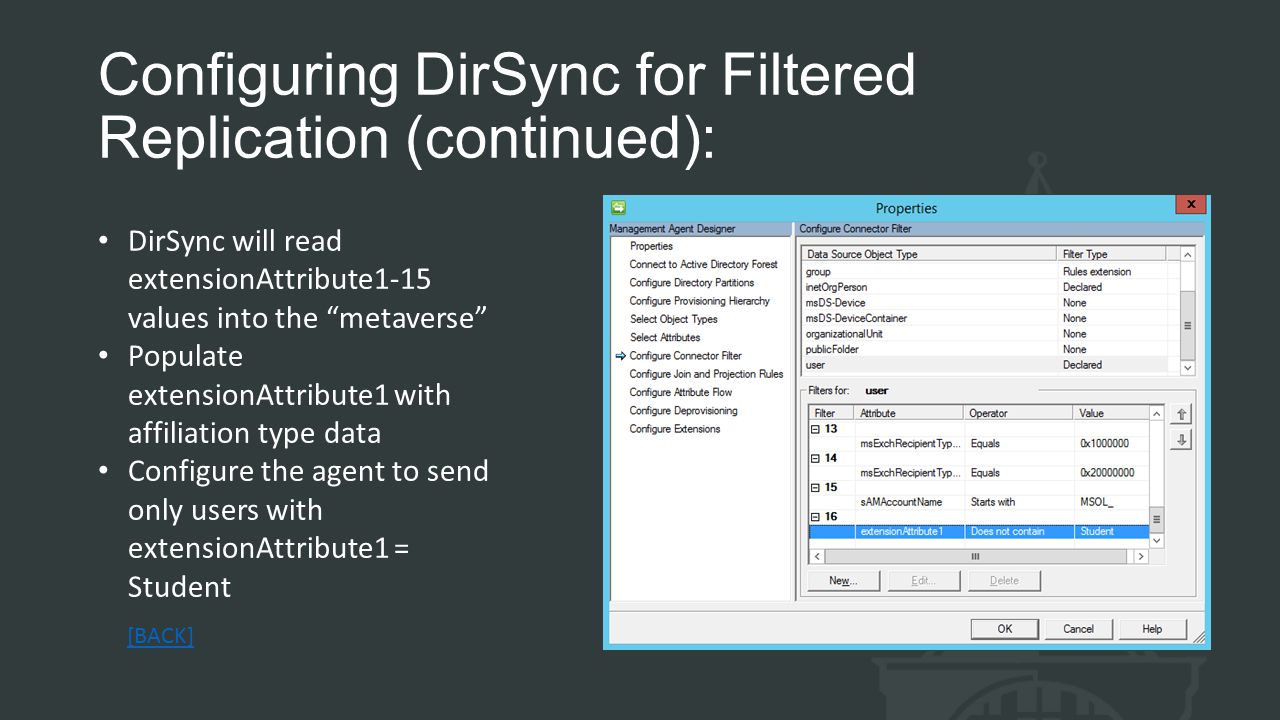Configuring DirSync for Filtered Replication (continued): DirSync will read extensionAttribute1-15 values into the metaverse Populate extensionAttribute1 with affiliation type data Configure the agent to send only users with extensionAttribute1 = Student [BACK]