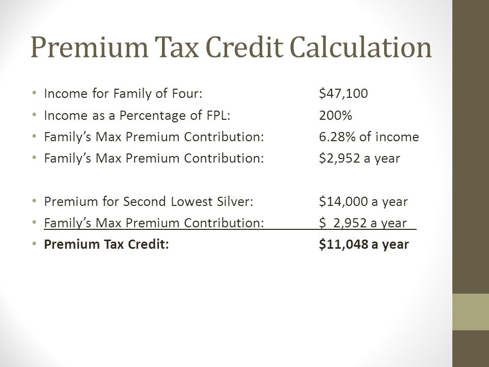 Premium Tax Credit Calculation Income for Family of Four:$47,100 Income as a Percentage of FPL:200% Family's Max Premium Contribution:6.28% of income Family's Max Premium Contribution:$2,952 a year Premium for Second Lowest Silver:$14,000 a year Family's Max Premium Contribution:$ 2,952 a year Premium Tax Credit:$11,048 a year