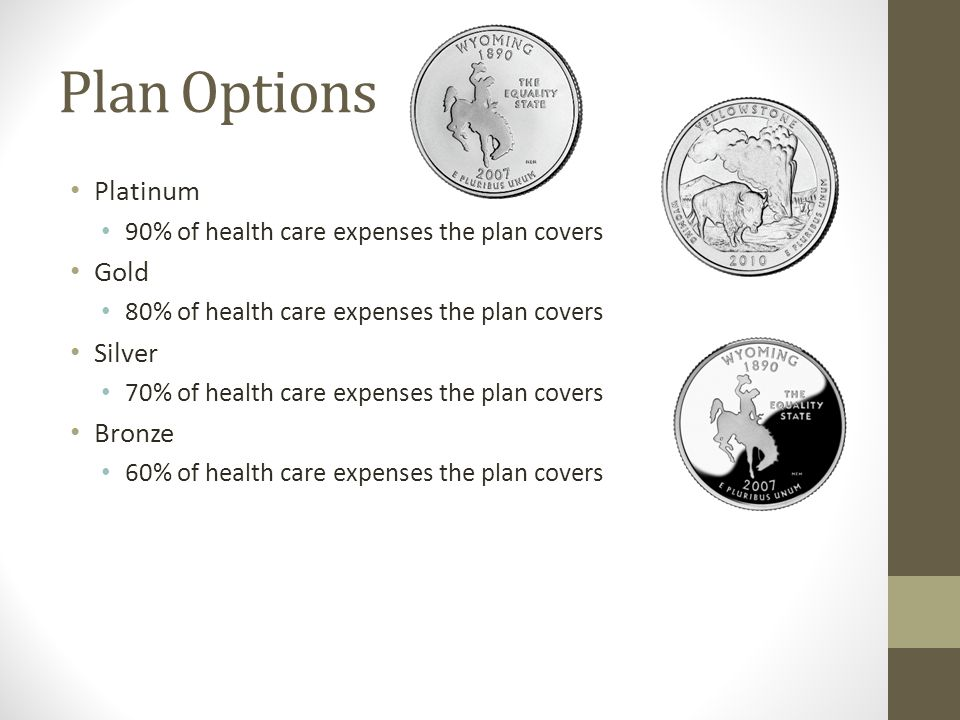 Plan Options Platinum 90% of health care expenses the plan covers Gold 80% of health care expenses the plan covers Silver 70% of health care expenses the plan covers Bronze 60% of health care expenses the plan covers