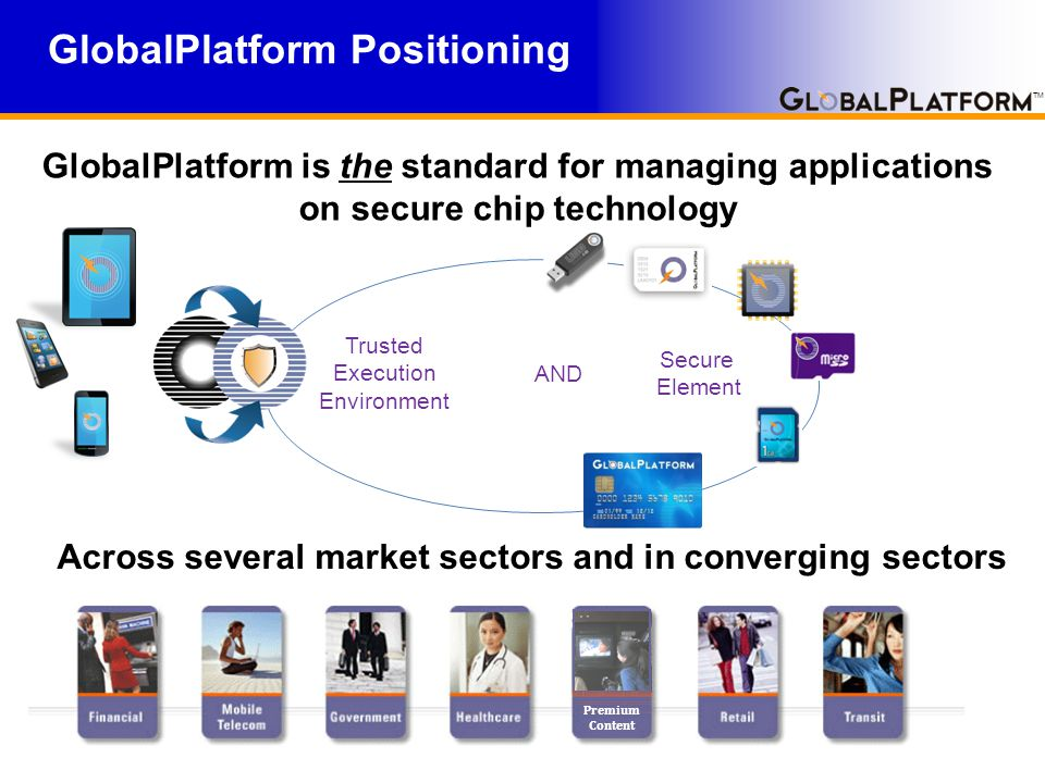 TM GlobalPlatform Privacy by Design Architecture The value proposition aims to define a migration path where the card platform provides: Support of current GlobalPlatform functions and secure channel protocols Card content management Incremental improvements – Reusing existing blocks – Not building a platform from scratch Privacy enforcement – Privacy enhanced services offered to all applications within a security domain – Choice of standalone privacy-enhanced protocols (host, card, and / or user authentication) – A privacy manager on-board confirming the platform meets the privacy rules established for it Lightweight solution – Easy migration for existing applications – Preventing environment complexity User consent scheme – User consent MAY be requested before or after authentication Privacy ecosystem – A platform that addresses privacy requirements and a deployment infrastructure