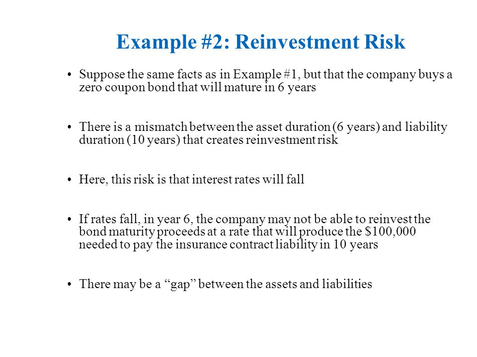 Example #2: Reinvestment Risk Suppose the same facts as in Example #1, but that the company buys a zero coupon bond that will mature in 6 years There is a mismatch between the asset duration (6 years) and liability duration (10 years) that creates reinvestment risk Here, this risk is that interest rates will fall If rates fall, in year 6, the company may not be able to reinvest the bond maturity proceeds at a rate that will produce the $100,000 needed to pay the insurance contract liability in 10 years There may be a gap between the assets and liabilities