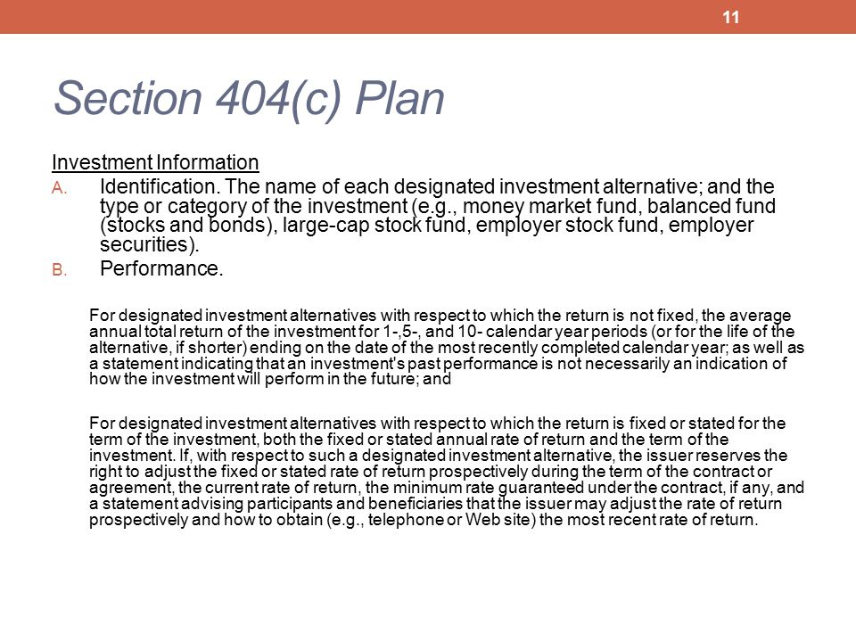Section 404(c) Plan Investment Information A. Identification.