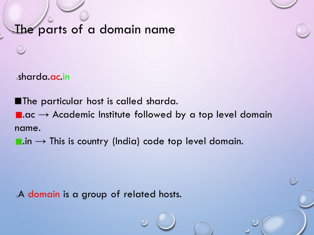 The parts of a domain name sharda.ac.in A domain is a group of related hosts.