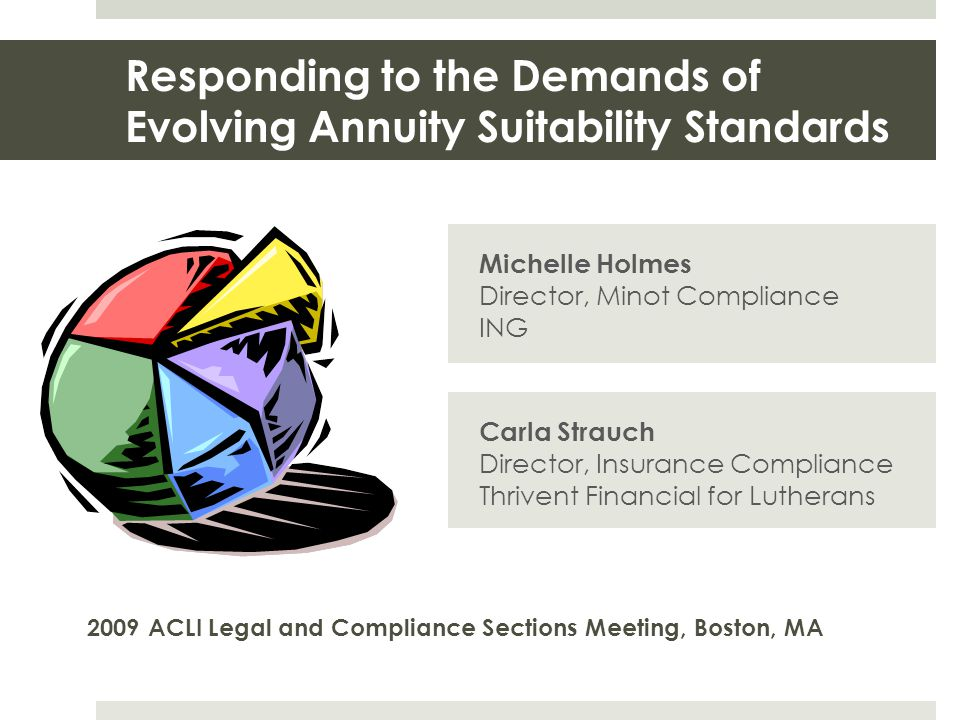 Responding to the Demands of Evolving Annuity Suitability Standards Michelle Holmes Director, Minot Compliance ING 2009 ACLI Legal and Compliance Sect
