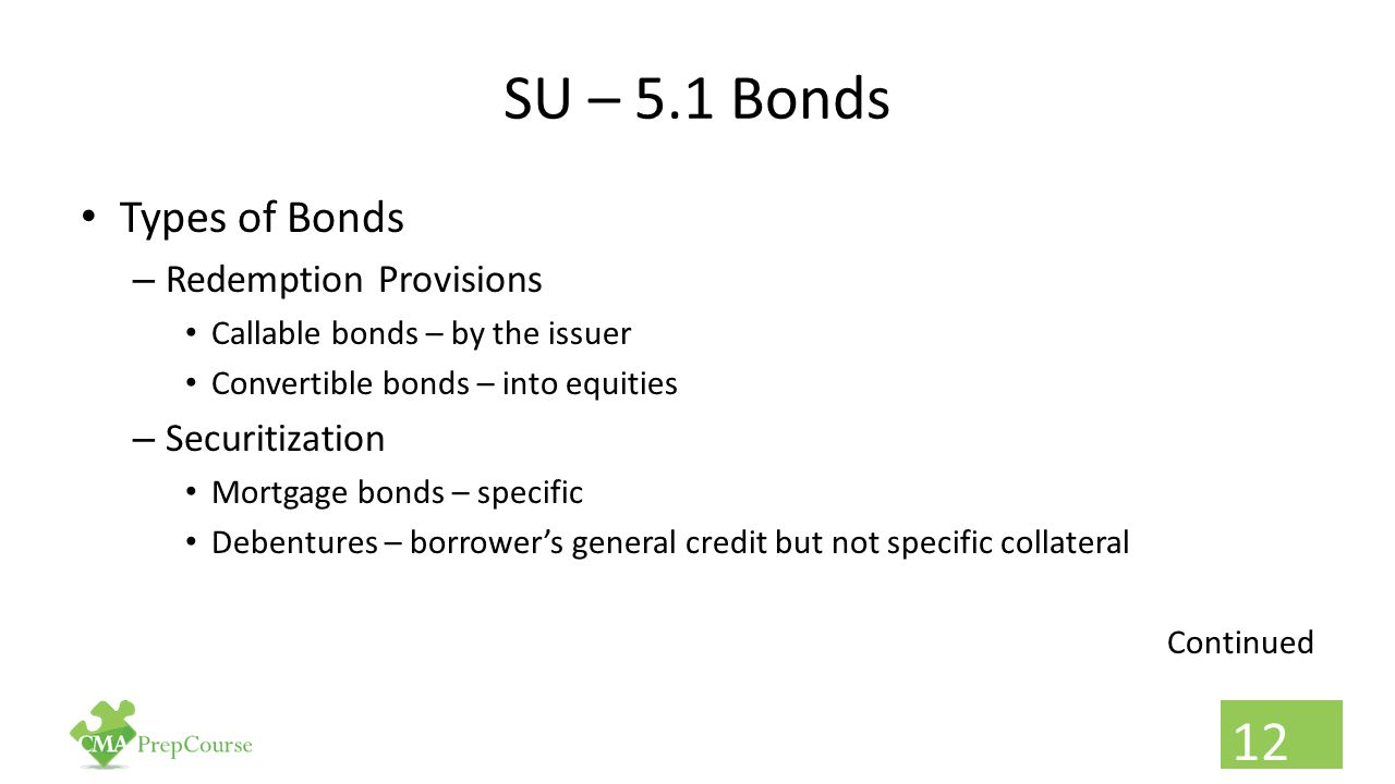 SU – 5.1 Bonds Types of Bonds – Redemption Provisions Callable bonds – by the issuer Convertible bonds – into equities – Securitization Mortgage bonds