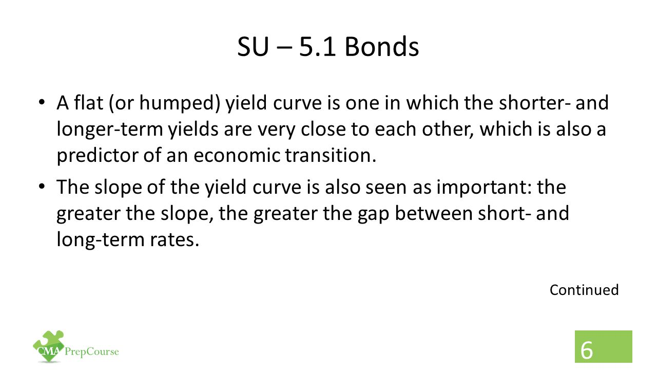 SU – 5.1 Bonds A flat (or humped) yield curve is one in which the shorter- and longer-term yields are very close to each other, which is also a predic