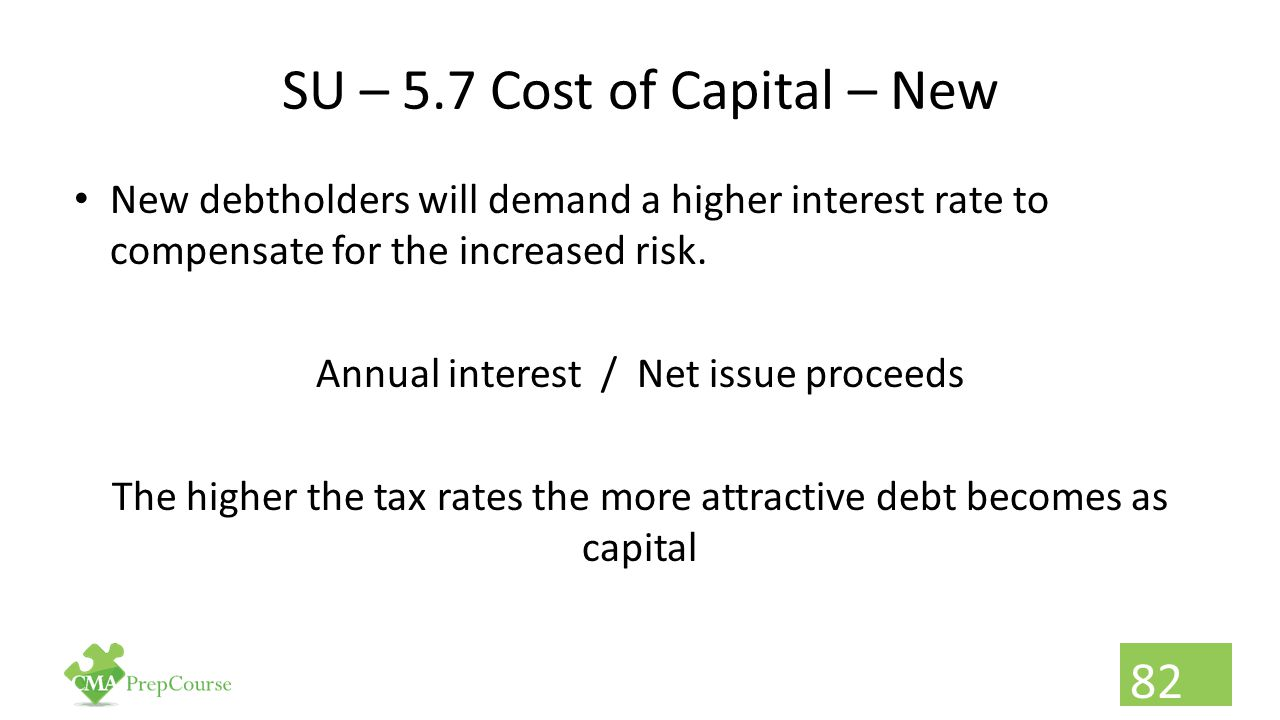 SU – 5.7 Cost of Capital – New New debtholders will demand a higher interest rate to compensate for the increased risk. Annual interest / Net issue pr
