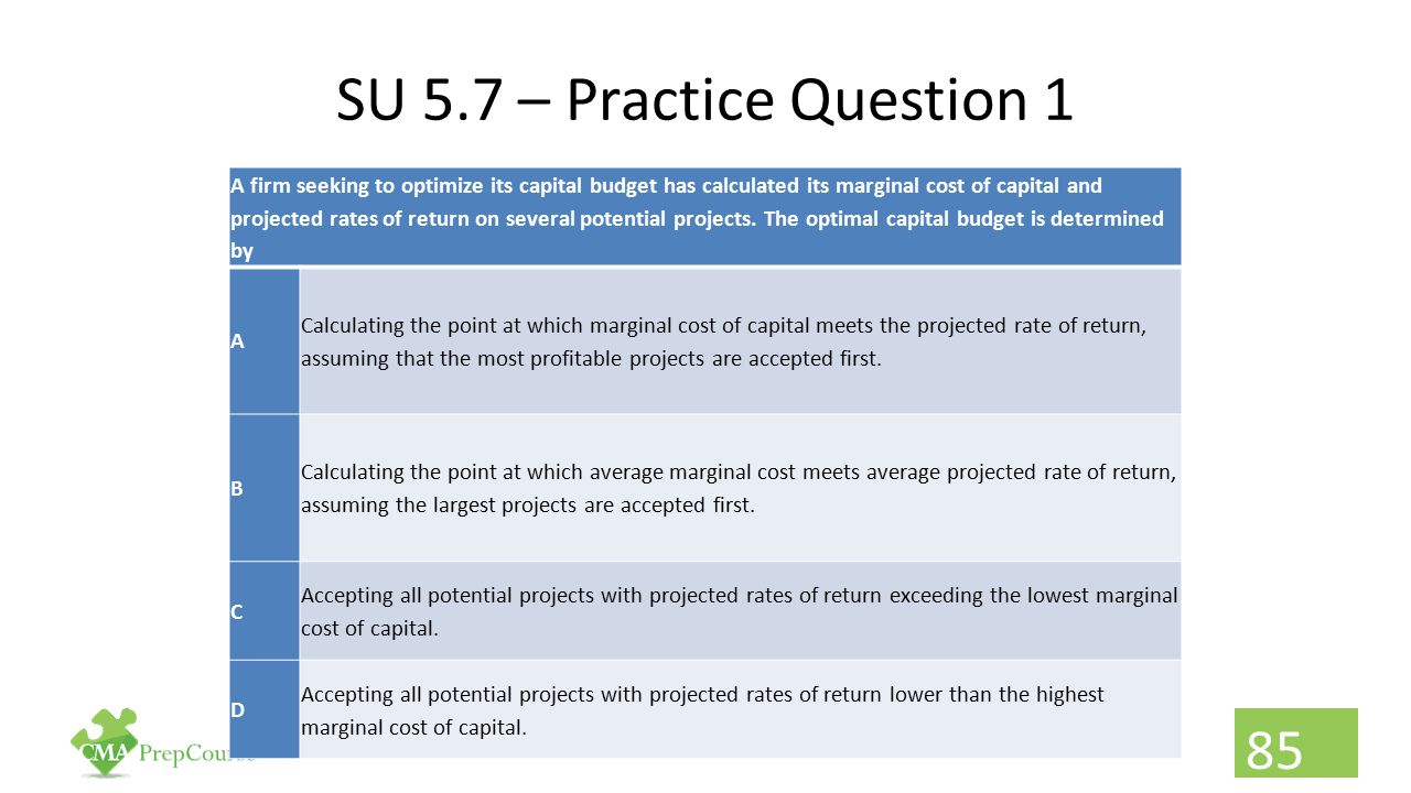 SU 5.7 – Practice Question 1 A firm seeking to optimize its capital budget has calculated its marginal cost of capital and projected rates of return o