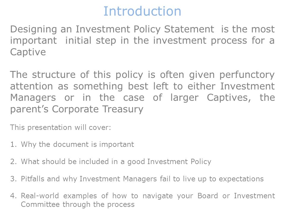 Designing Investment Policy Statements Policy And Practice Andrew