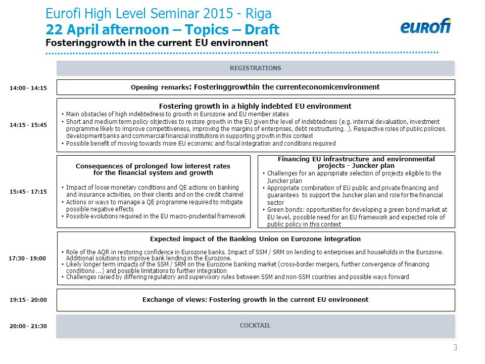3 14:15 - 15:45 15:45 - 17:15 20:00 - 21:30 19:15 - 20:00 Eurofi High Level Seminar 2015 - Riga 22 April afternoon – Topics – Draft Fosteringgrowth in the current EU environnen t COCKTAIL REGISTRATIONS Exchange of views: Fostering growth in the current EU environnent Expected impact of the Banking Union on Eurozone integration Role of the AQR in restoring confidence in Eurozone banks.