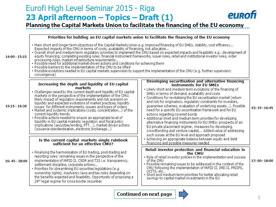 14:00 - 15:15 15:15 - 16:30 Eurofi High Level Seminar 2015 - Riga 23 April afternoon – Topics – Draft (1) Planning the Capital Markets Union to facilitate the financing of the EU economy 16: 45 - 18:00 Continued on next page 5 Is the current capital markets single rulebook sufficient for an effective CMU.