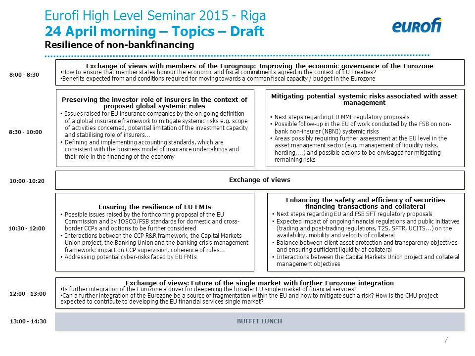 7 8:00 - 8:30 10:00 -10:20 12:00 - 13:00 10:30 - 12:00 Eurofi High Level Seminar 2015 - Riga 24 April morning – Topics – Draft Resilience of non-bankf