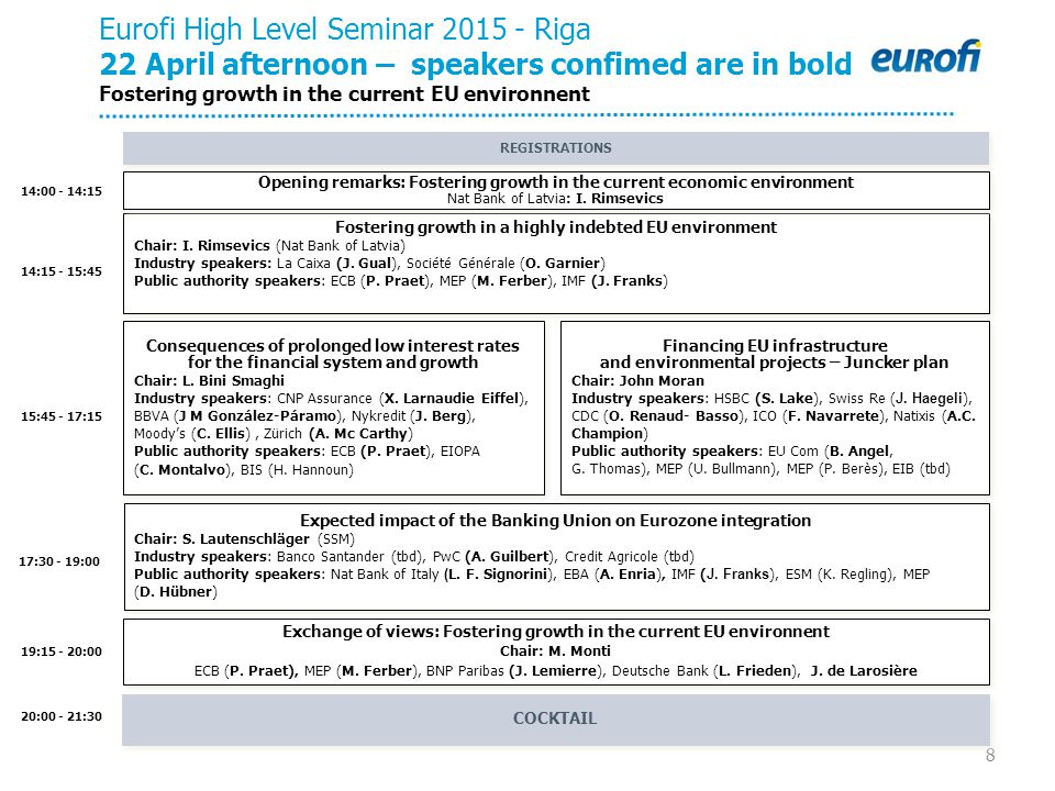 8 14:15 - 15:45 15:45 - 17:15 20:00 - 21:30 19:15 - 20:00 Eurofi High Level Seminar 2015 - Riga 22 April afternoon – speakers confimed are in bold Fos