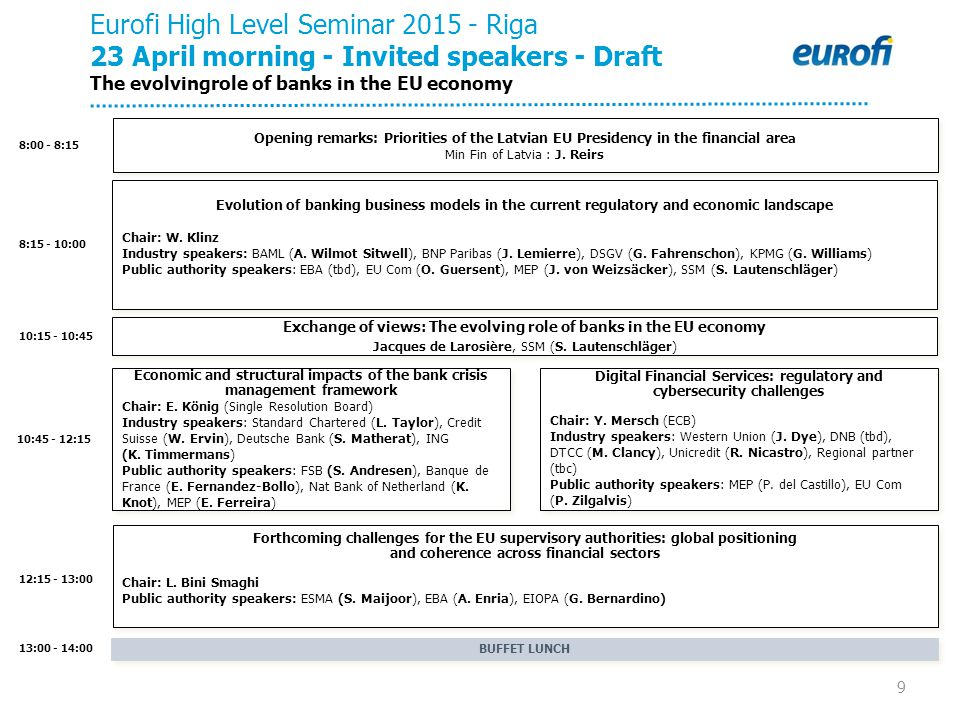 9 8:00 - 8:15 8:15 - 10:00 13:00 - 14:00 12:15 - 13:00 10:45 - 12:15 Eurofi High Level Seminar 2015 - Riga 23 April morning - Invited speakers - Draft The evolvingrole of banks in the EU economy BUFFET LUNCH Evolution of banking business models in the current regulatory and economic landscape Chair: W.