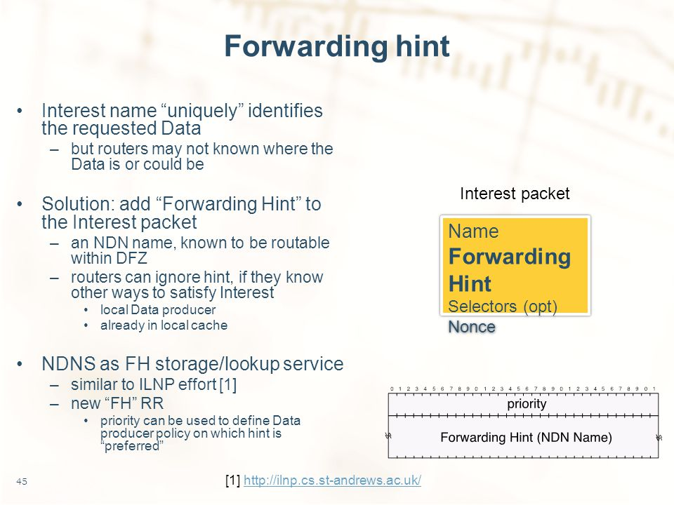 Forwarding hint Interest name uniquely identifies the requested Data –but routers may not known where the Data is or could be Solution: add Forwarding Hint to the Interest packet –an NDN name, known to be routable within DFZ –routers can ignore hint, if they know other ways to satisfy Interest local Data producer already in local cache NDNS as FH storage/lookup service –similar to ILNP effort [1] –new FH RR priority can be used to define Data producer policy on which hint is preferred 45 Name Forwarding Hint Selectors (opt) Nonce Name Forwarding Hint Selectors (opt) Nonce Interest packet [1] http://ilnp.cs.st-andrews.ac.uk/http://ilnp.cs.st-andrews.ac.uk/