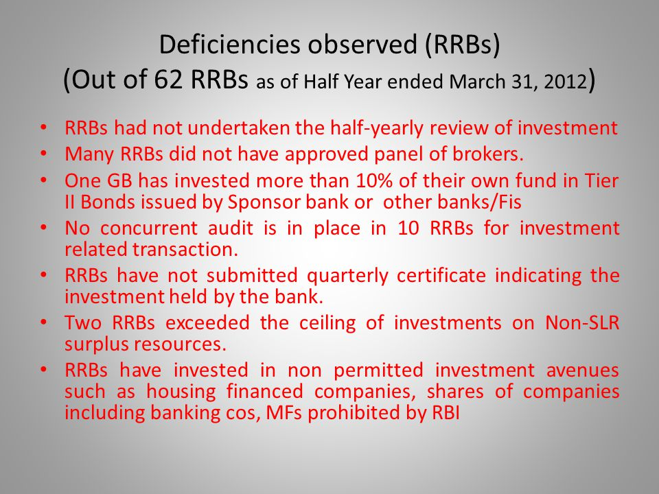 Deficiencies observed (RRBs) (Out of 62 RRBs as of Half Year ended March 31, 2012 ) RRBs had not undertaken the half-yearly review of investment Many