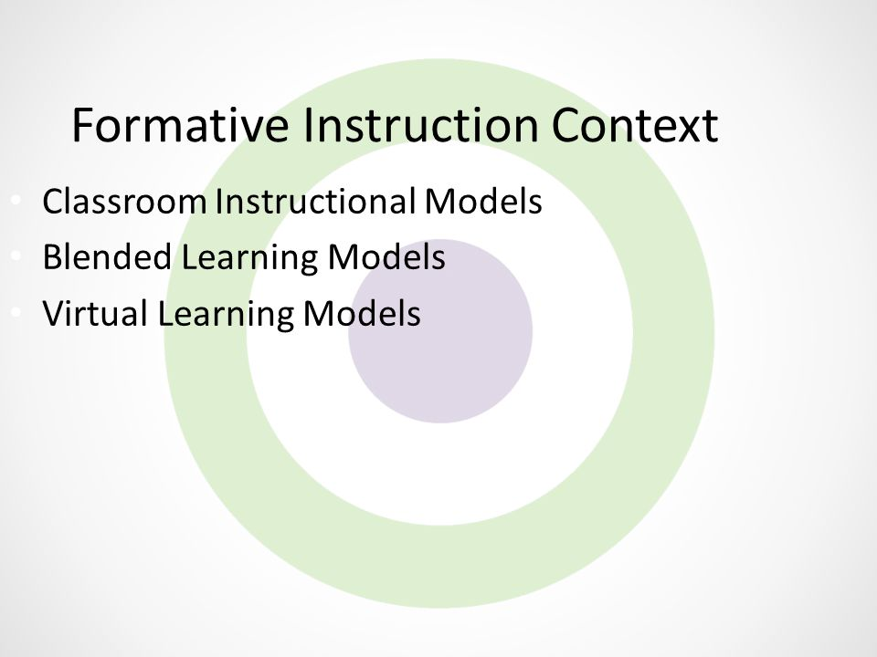 Formative Instruction Context Classroom Instructional Models Blended Learning Models Virtual Learning Models