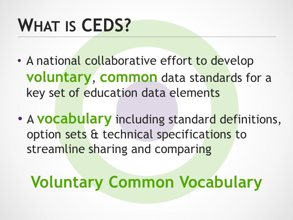 W HAT IS CEDS? A national collaborative effort to develop voluntary, common data standards for a key set of education data elements Voluntary Common V