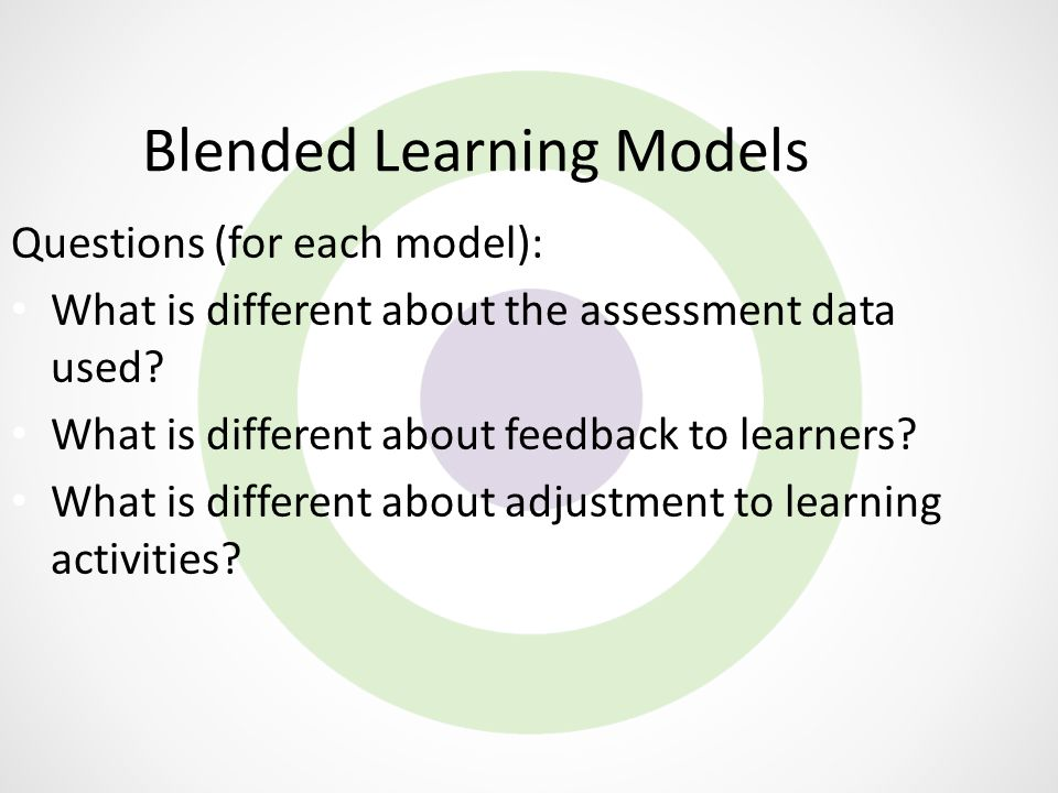 Blended Learning Models Questions (for each model): What is different about the assessment data used? What is different about feedback to learners? Wh