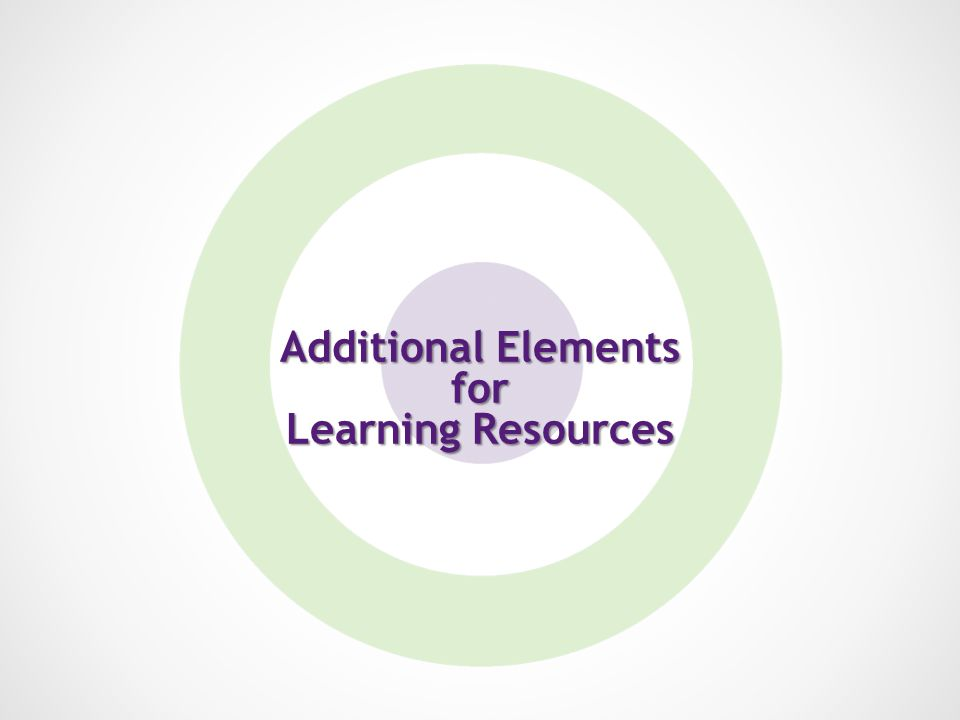 Additional Elements for Learning Resources