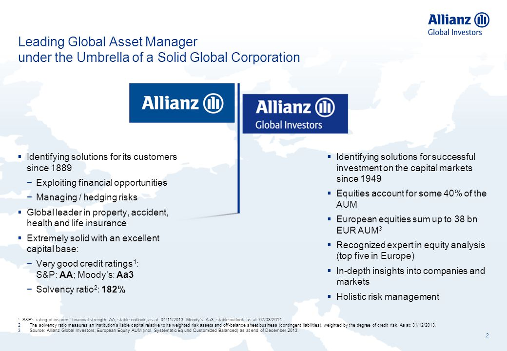 Leading Global Asset Manager under the Umbrella of a Solid Global Corporation 2 1 S&P's rating of insurers' financial strength: AA, stable outlook, as
