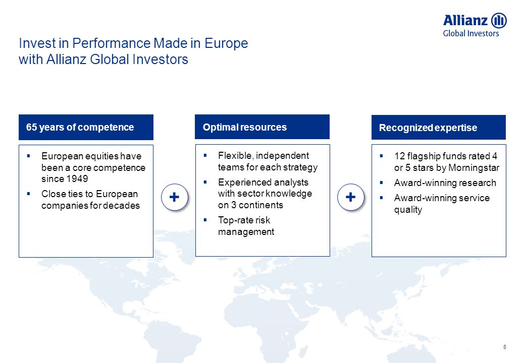 Invest in Performance Made in Europe with Allianz Global Investors 8 + + Optimal resources  Flexible, independent teams for each strategy  Experienc