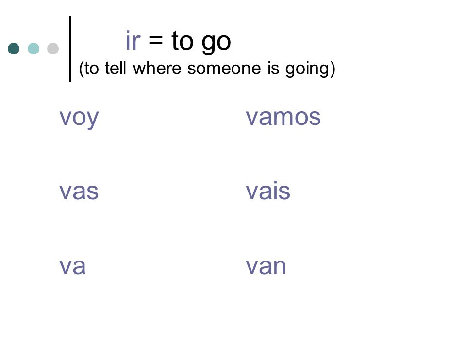 ir = to go (to tell where someone is going) voyvamos vasvais vavan