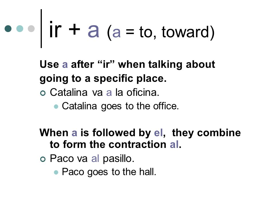 ir + a ( a = to, toward) Use a after ir when talking about going to a specific place.