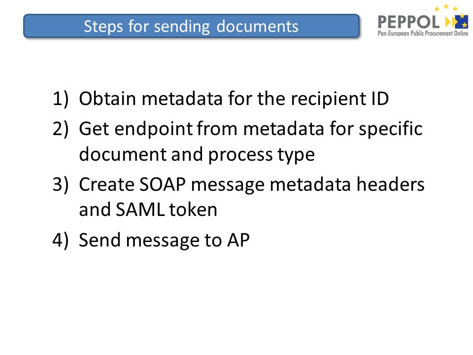 Steps for sending documents 1)Obtain metadata for the recipient ID 2)Get endpoint from metadata for specific document and process type 3)Create SOAP message metadata headers and SAML token 4)Send message to AP