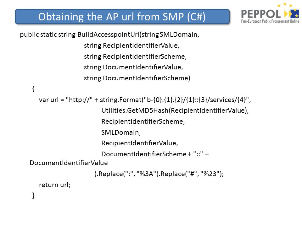 Obtaining the AP url from SMP (C#) public static string BuildAccesspointUrl(string SMLDomain, string RecipientIdentifierValue, string RecipientIdentifierScheme, string DocumentIdentifierValue, string DocumentIdentifierScheme) { var url = http:// + string.Format( b-{0}.{1}.{2}/{1}::{3}/services/{4} , Utilities.GetMD5Hash(RecipientIdentifierValue), RecipientIdentifierScheme, SMLDomain, RecipientIdentifierValue, DocumentIdentifierScheme + :: + DocumentIdentifierValue ).Replace( : , %3A ).Replace( # , %23 ); return url; }