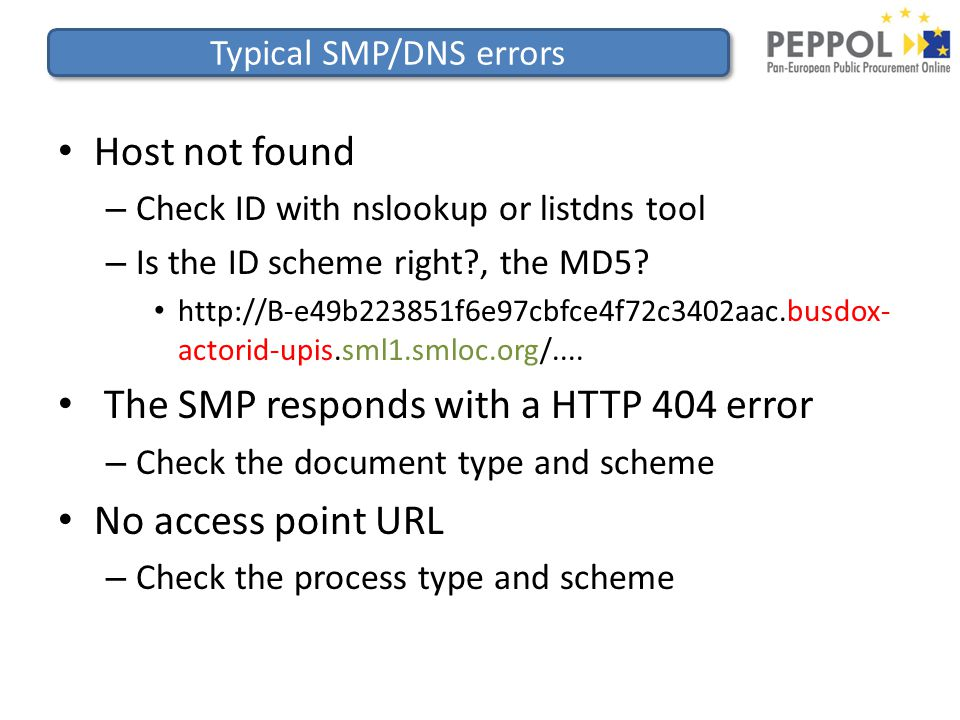 Typical SMP/DNS errors Host not found – Check ID with nslookup or listdns tool – Is the ID scheme right , the MD5.