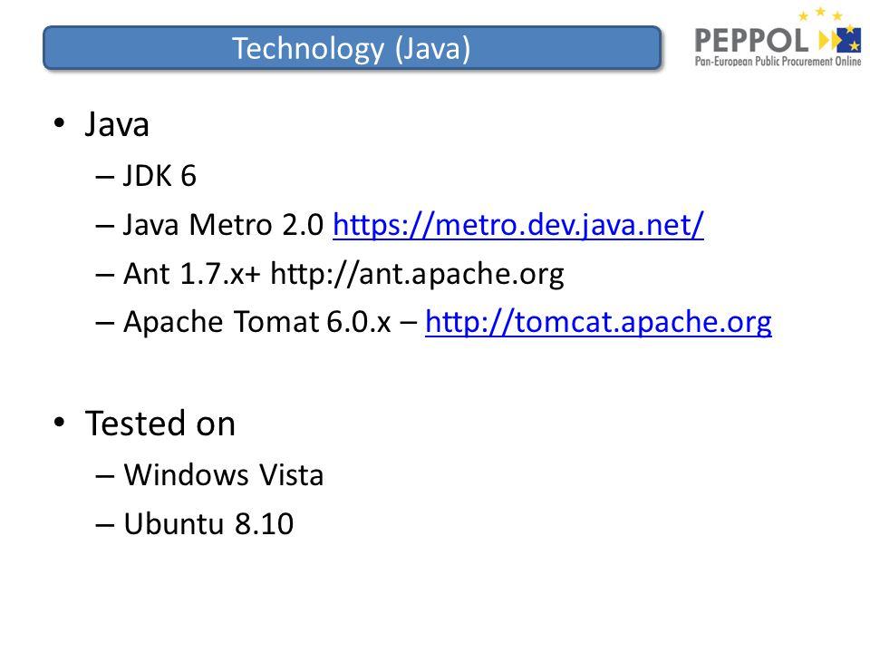 Technology (Java) Java – JDK 6 – Java Metro 2.0 https://metro.dev.java.net/https://metro.dev.java.net/ – Ant 1.7.x+ http://ant.apache.org – Apache Tomat 6.0.x – http://tomcat.apache.orghttp://tomcat.apache.org Tested on – Windows Vista – Ubuntu 8.10