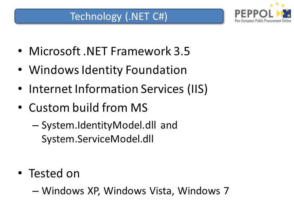 Technology (.NET C#) Microsoft.NET Framework 3.5 Windows Identity Foundation Internet Information Services (IIS) Custom build from MS – System.IdentityModel.dll and System.ServiceModel.dll Tested on – Windows XP, Windows Vista, Windows 7