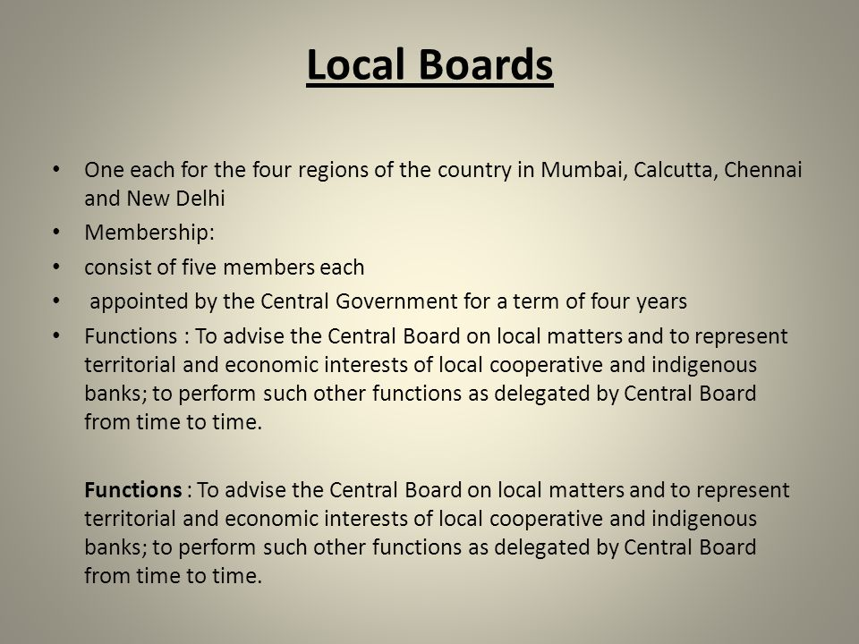 STRUCTURE Central Board of Directors The Central Board of Directors is the main committee of the central bank.