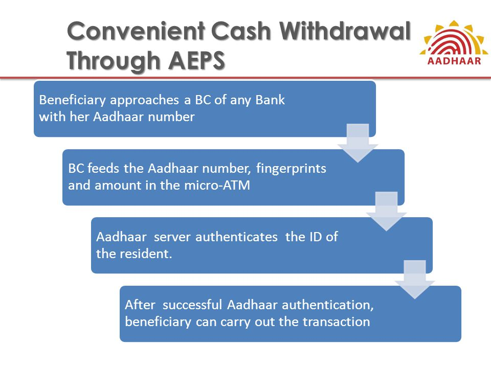 Convenient Cash Withdrawal Through AEPS Beneficiary approaches a BC of any Bank with her Aadhaar number BC feeds the Aadhaar number, fingerprints and amount in the micro-ATM Aadhaar server authenticates the ID of the resident.
