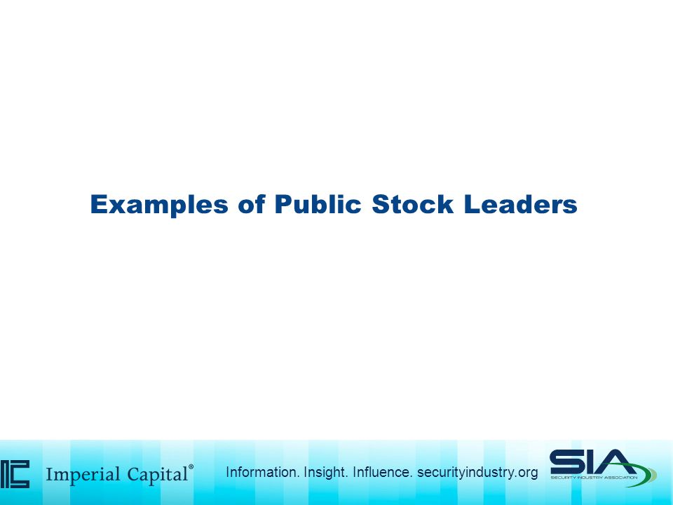 Examples of Public Stock Leaders Information. Insight. Influence. securityindustry.org