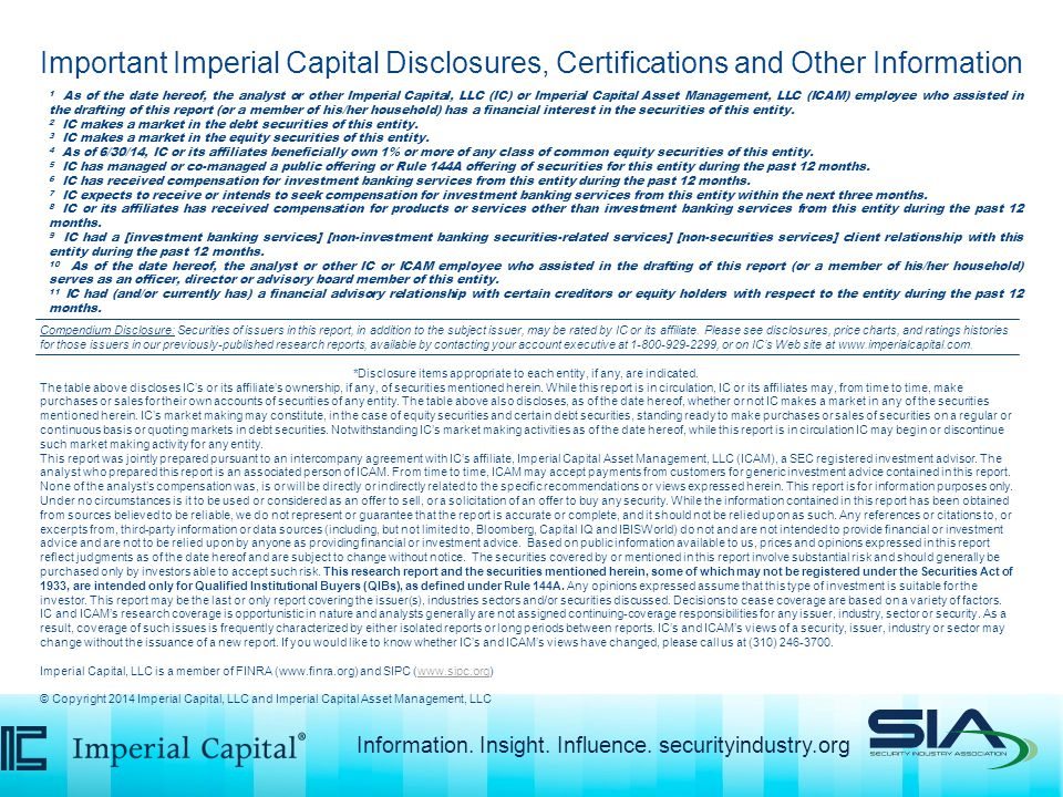 Compendium Disclosure: Securities of issuers in this report, in addition to the subject issuer, may be rated by IC or its affiliate.