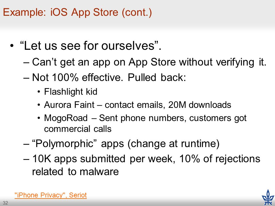 32 Example: iOS App Store (cont.) Let us see for ourselves .