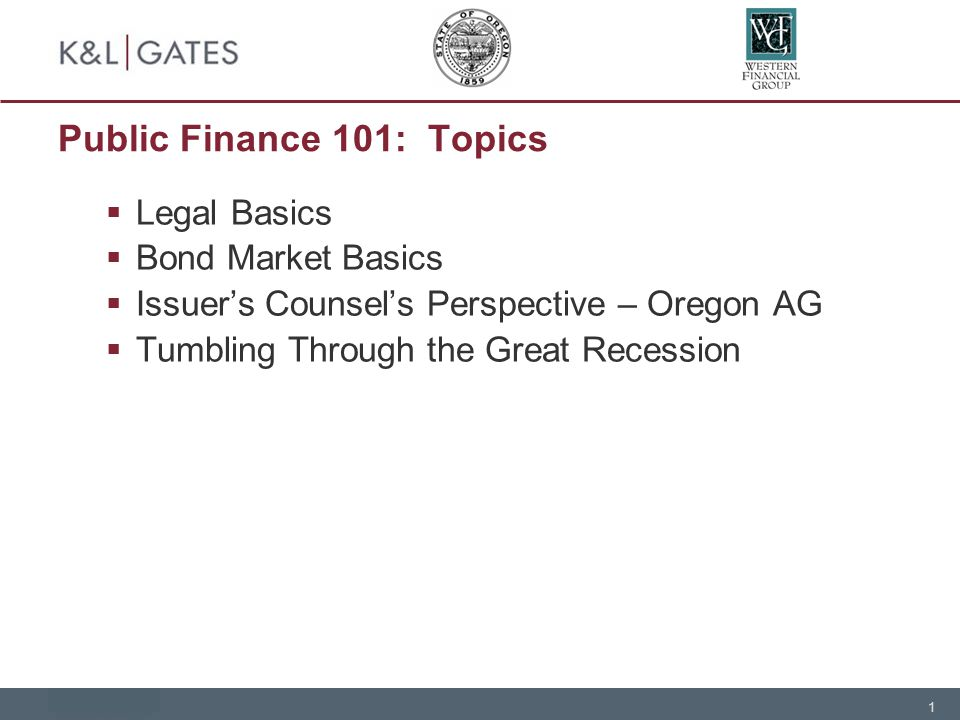 1 Public Finance 101: Topics  Legal Basics  Bond Market Basics  Issuer's Counsel's Perspective – Oregon AG  Tumbling Through the Great Recession