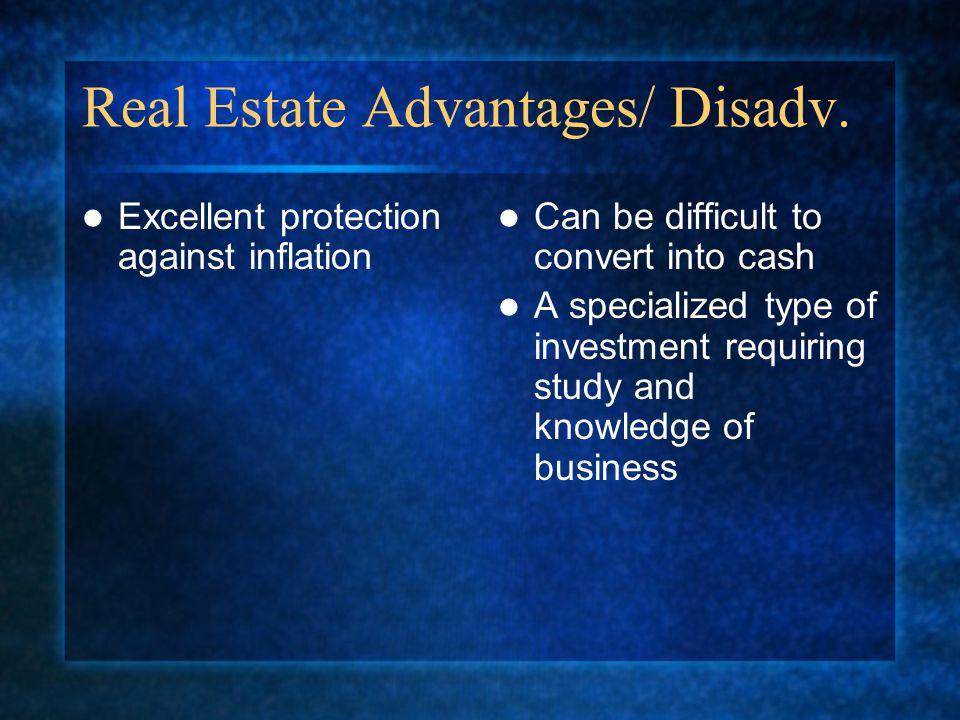 Real Estate Advantages/ Disadv.