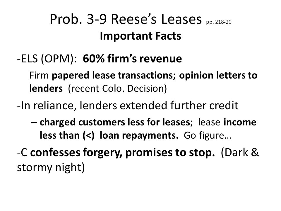 Prob. 3-9 Reese's Leases pp.